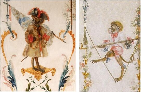 Zwei Bilder aus der Grande Singerie im Château de Chantilly Abbildungen: Pinterest