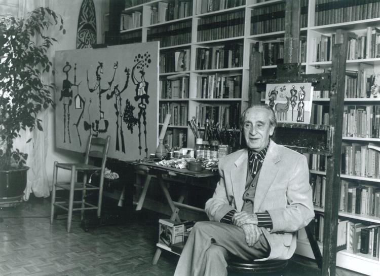 Eugenio Granell in seinem Studio in Madrid, Spanien