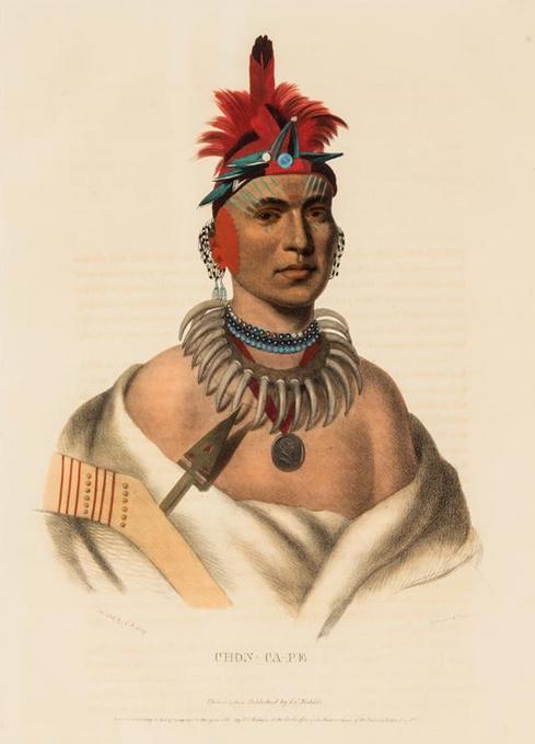 Collection de quatre lithographies colorées à la main sur l'Histoire des tribus indiennes d'Amérique du Nord, 1838-1844 Leslie Hindman Estimation basse: 460 €