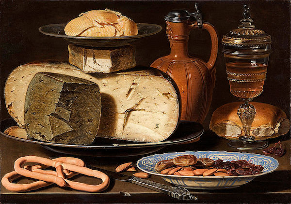 Clara Peeters, Stilleben med ost, mandlar och kringlor, cirka 1615. Bild: Wikipedia.
