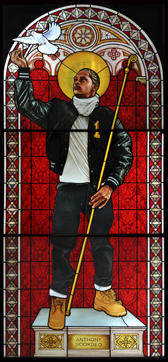 Kehinde Wiley (American, b. 1977). Saint Remi, 2014. Stained glass, 96 x 43½ in. (243.8 x 110.5 cm). Courtesy of Galerie Daniel Templon, Paris. © Kehinde Wiley