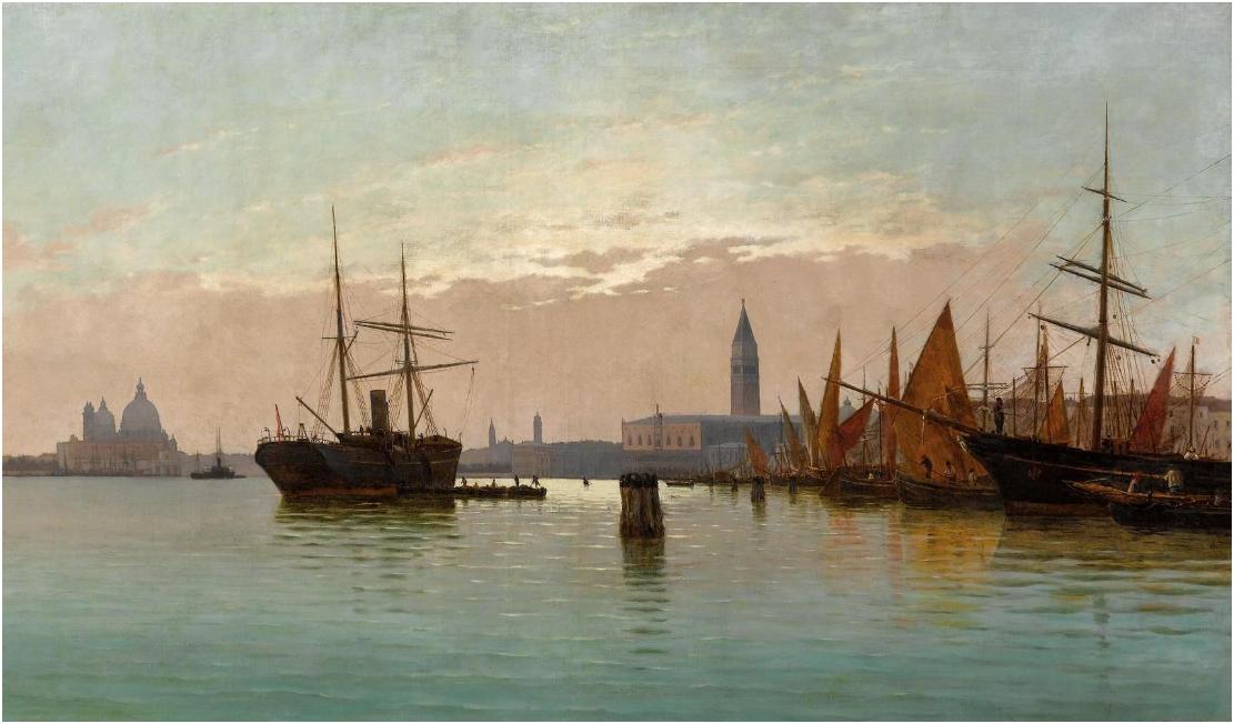 Pietro Galter, 1840-1901, Venedig. 79 x 141 cm. Utrop: