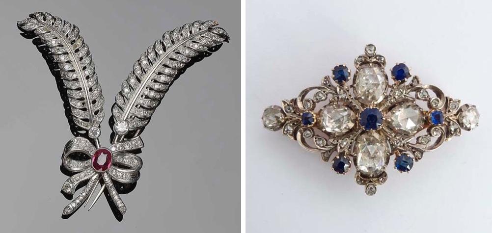 Links: Feder-Brosche aus Weißgold mit Rubin (ca. 1,50 ct) und Diamanten Rechts: Brosche aus Roségold, teilw. versilbert, mit Saphiren und Diamanten, 19. Jh.