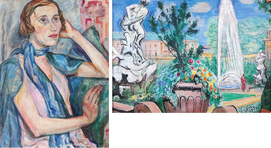 Friedrich Ahlers-Hestermann (1883 Hamburg - 1973 Berlin), Portrait Alexandra Povorina/Rückseite Mirabellgarten Salzburg, Öl/Lwd., signiert und datiert, 1953