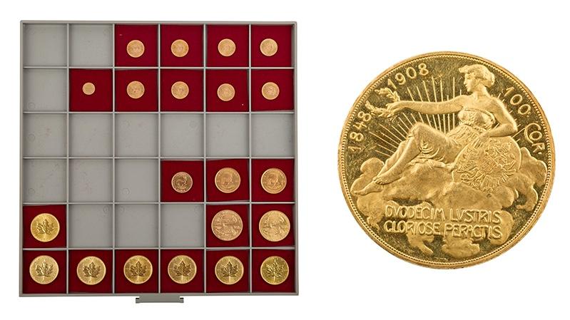 Links: Goldlot mit über 10 Unzen Feingewicht Rechts: Österreich 100 Kronen Gold 1908