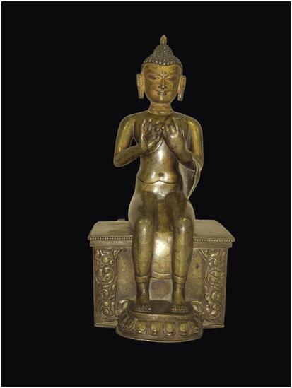 Förgylld bronsskulptur av Bodishattva Maitreya, Tibet, Songdynastin, 1200-talet. Utrop: 278 000 SEK Cambi