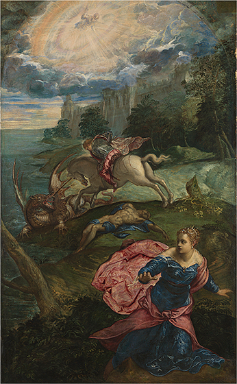 Jacopo Tintoretto, Saint George and the Dragon, c. 1553, oil on canvas, The National Gallery, London. Holwell Carr Bequest, 1831. © The National Gallery, London.