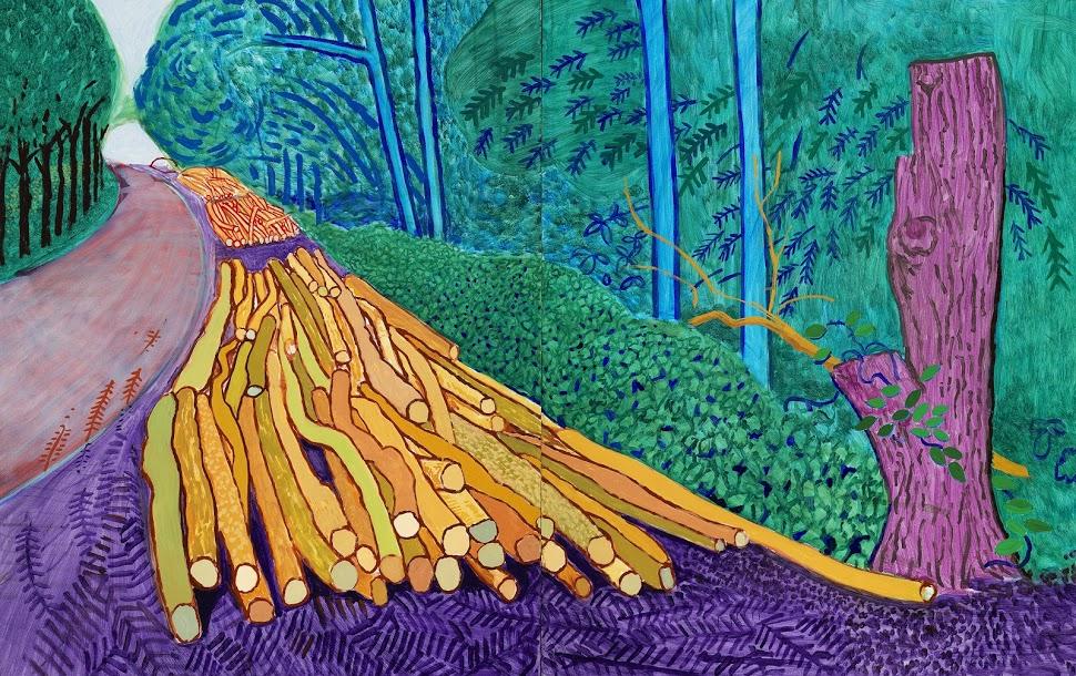 David Hockney, 'More Felled Trees on Woldgate.' 2008, Oil on two canvases. © David Hockney, Photo Credit: Richard Schmidt