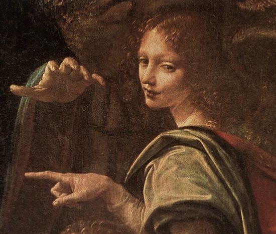 Virgin of the Rocks, detalj bild från första versionen. Image: artistnetwork.com