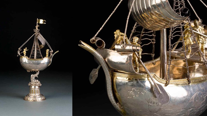 Museales Trinkspiel in Form eines Schiffes, Silber, Ulm um 1610