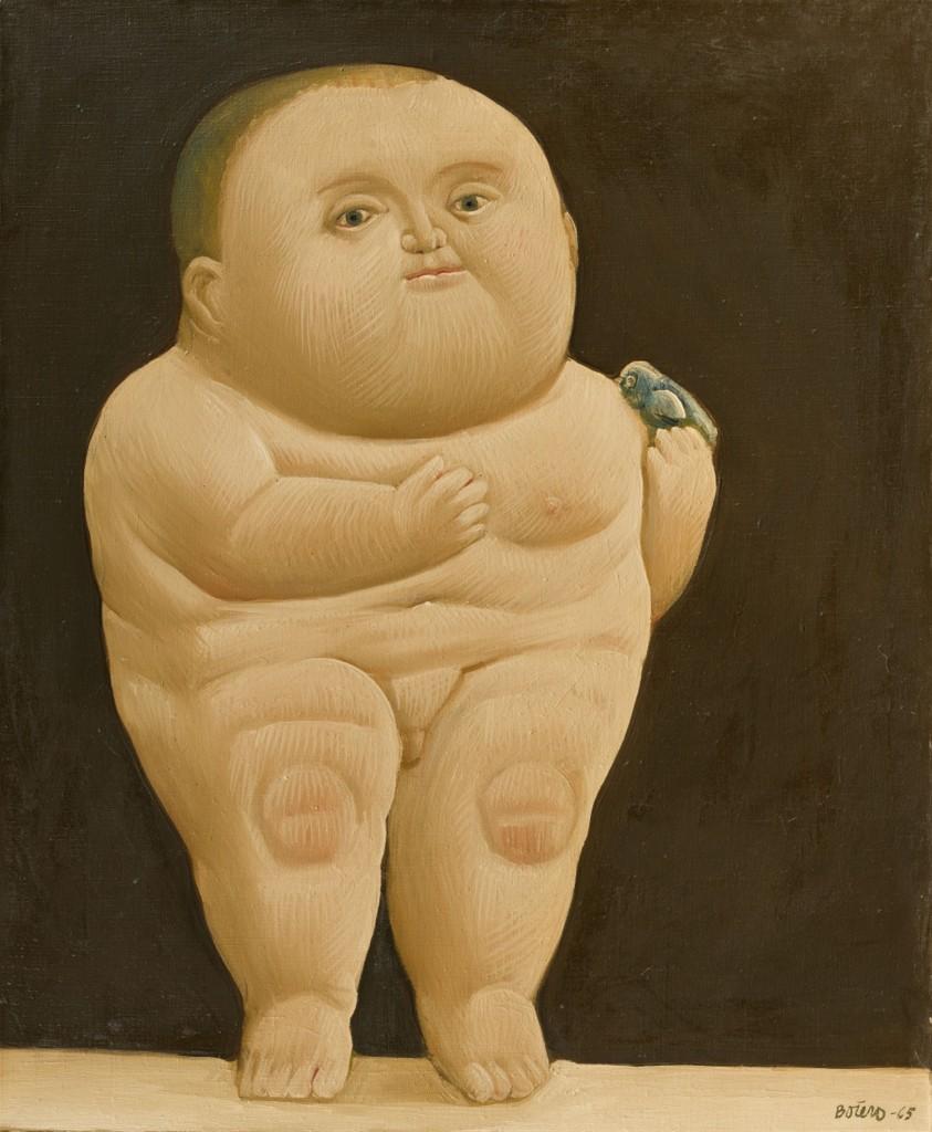 FERNANDO BOTERO (*Medellin (Kolumbien) 1932) - Niño con un pájaro, Öl/Lwd., 104,5 x 84 cm, betitelt, signiert und datiert, 1965 Schätzpreis: 250.000 EUR
