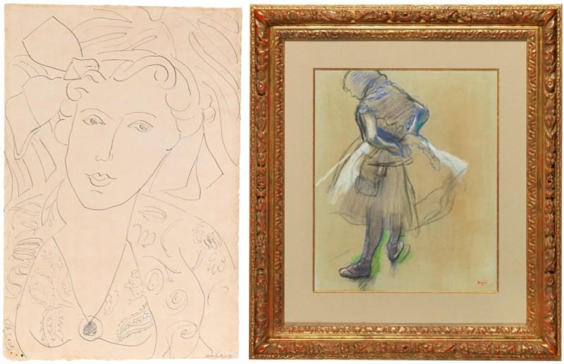 """Vänster: Henri Matisse, """"Portrait de femme avec un collier"""" 1937. Höger: Edgar Degas, """"Danseuse debout, les mains derrière le dos"""" 1887. Foton: Dorotheum."""
