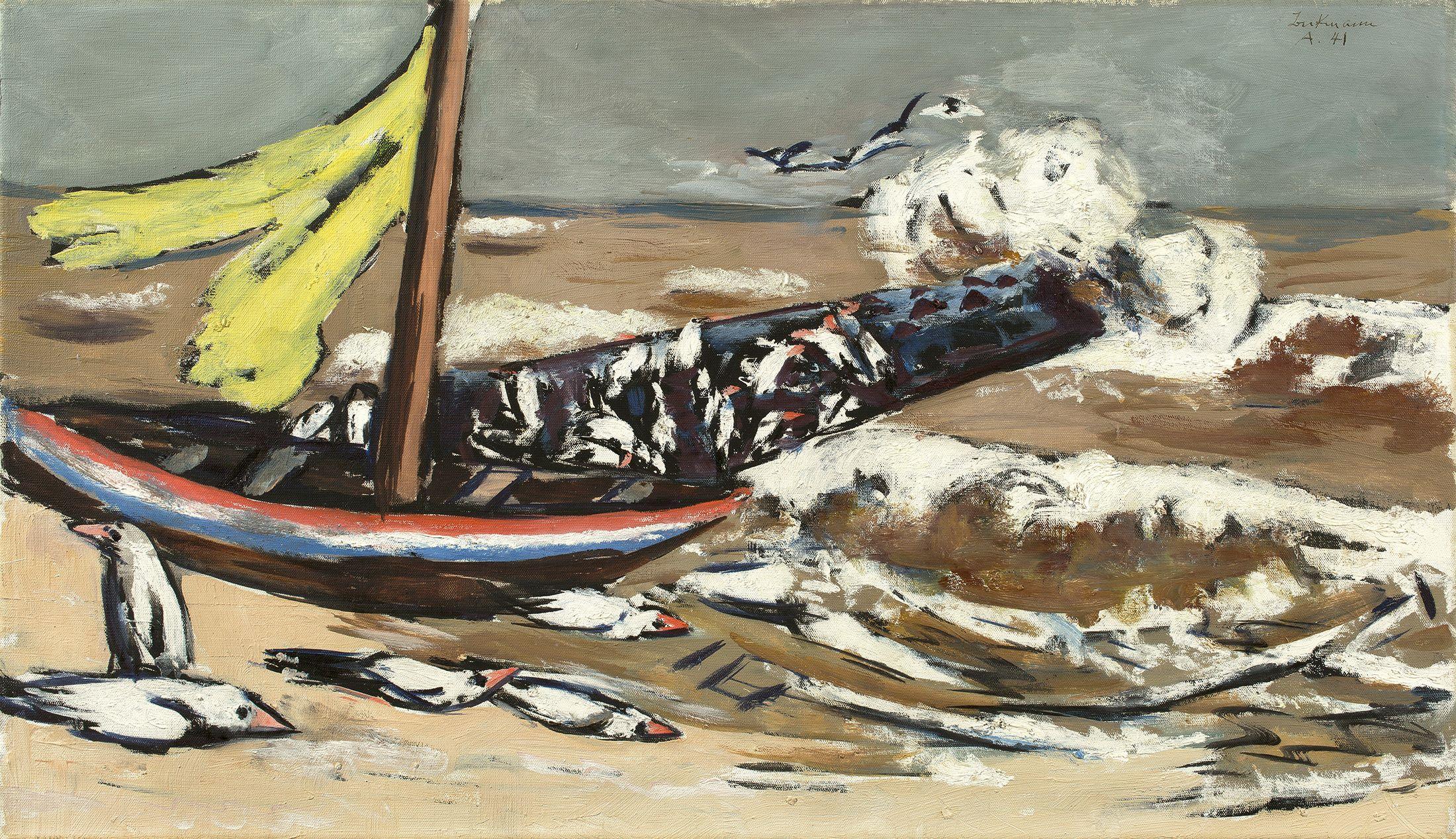 MAX BECKMANN (Leipzig 1884 – 1950 New York) - Braunes Meer mit Möwen, Öl/Lwd., bezeichnet, signiert und datiert, 1941