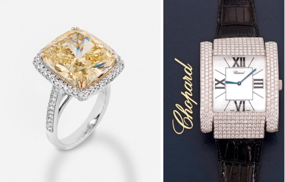 """Links: Weißgold-Ring mit gelbem Diamant (18,23 ct) und Brillanten Taxe: 285.000 EUR Rechts: CHOPARD - sog. """"Montre La Strada"""", Weißgold mit Brillanten Taxe: 38.000 EUR"""