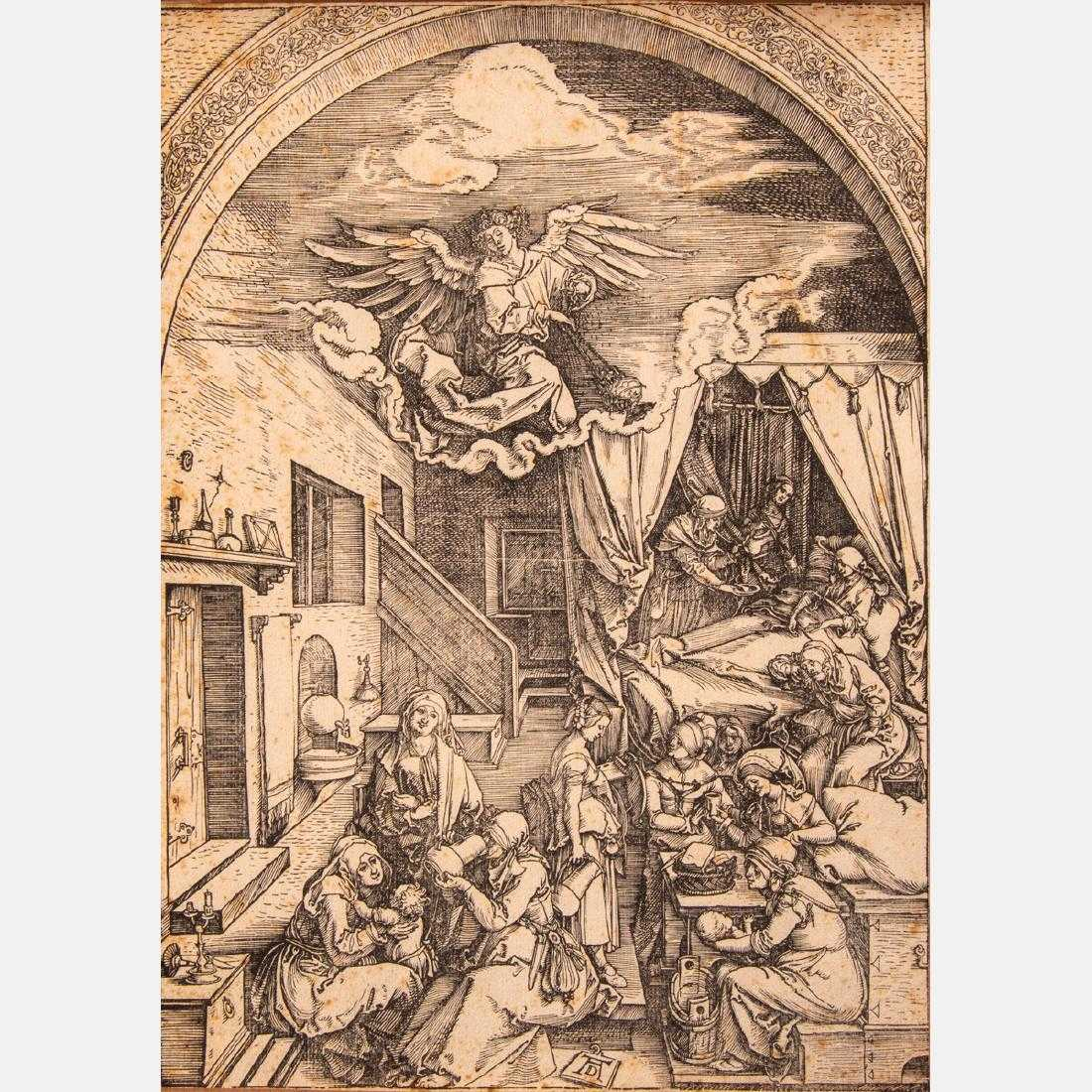 Early 16th century woodcuts and engravings will feature a pair of woodcuts on laid paper by Albrecht Dürer (German, 1471-1528), including The Birth of Mary (circa 1503) (est. $1,000-$2,000).