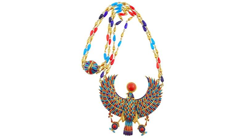 Egyptian Revival-Collier, Koralle, Türkise, Lapislazuli, Ägypten