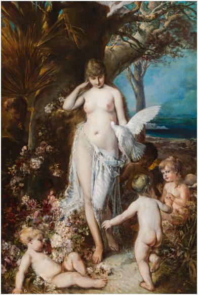 HANS MAKART (Salzburg 1840-1884 Wien) - Allegorie der Liebe, Öl/Lwd., 148 × 98 cm, um 1880 Schätzpreis: 100.000-200.000 EUR
