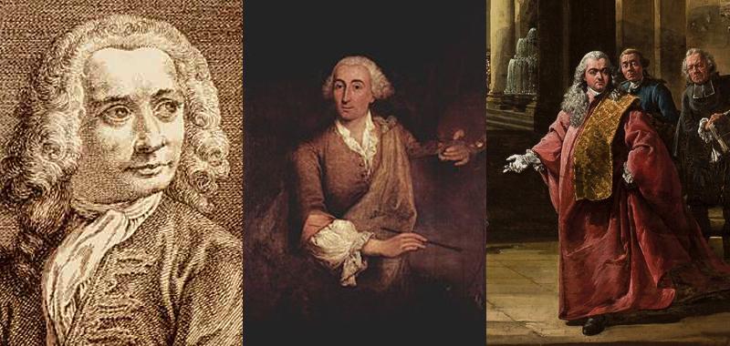 Gauche à droite : Portrait de Canaletto, image © The British Museum ; Portrait de Francesco Guardi par Pietro Longhi (1764) ; Auto-portrait de Bernardo Bellotto, c. 1765, image © National Museum in Warsaw