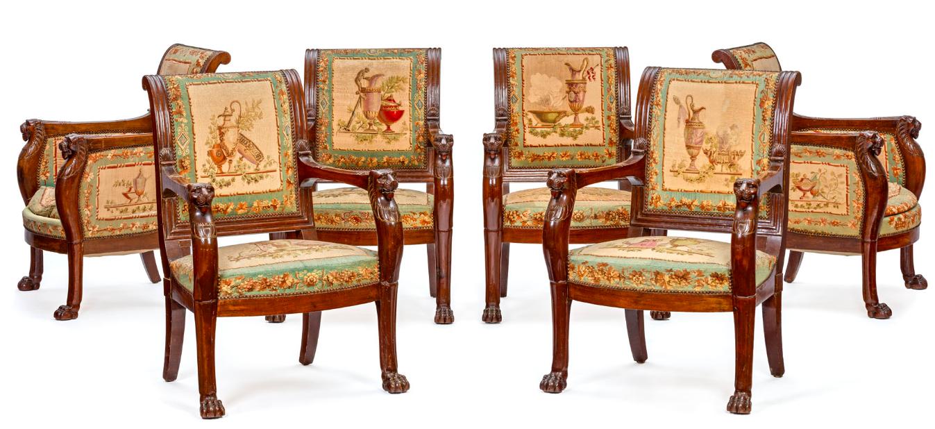 Suite de 4 fauteuils et 2 bergères d'époque Empire attribués à Jacob Desmalter
