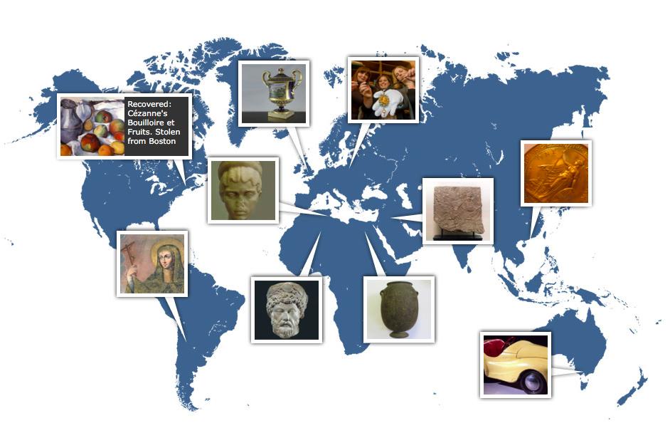 Carte comportant des exemples d'œuvres restituées ©The Register Art Loss, image