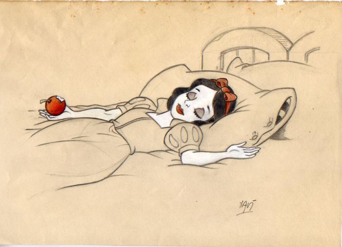 Xavier Vives Mateu - Originalskizze mit Schneewittchen nachdem sie in den vergifteten Apfel gebissen hat, Bleistift/Papier