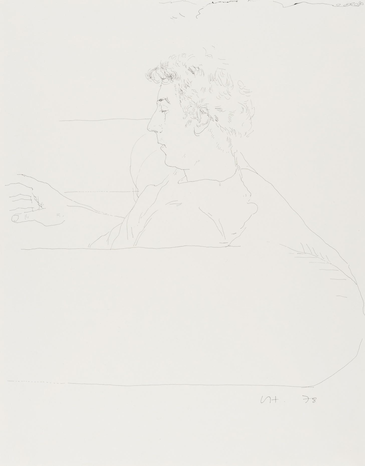 David Hockney, Gregory on a sofa, encre de Chine sur papier, 1978, 35.5 x 27.7 cm (14 x 10 7/8in) Estimation: £25 000-35 000