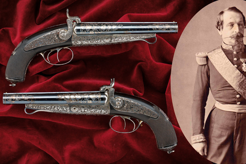 Exceptional pair of pin fire pistols from the possession of Napoleon III, L: 34 cm, Devisme, Paris 1852