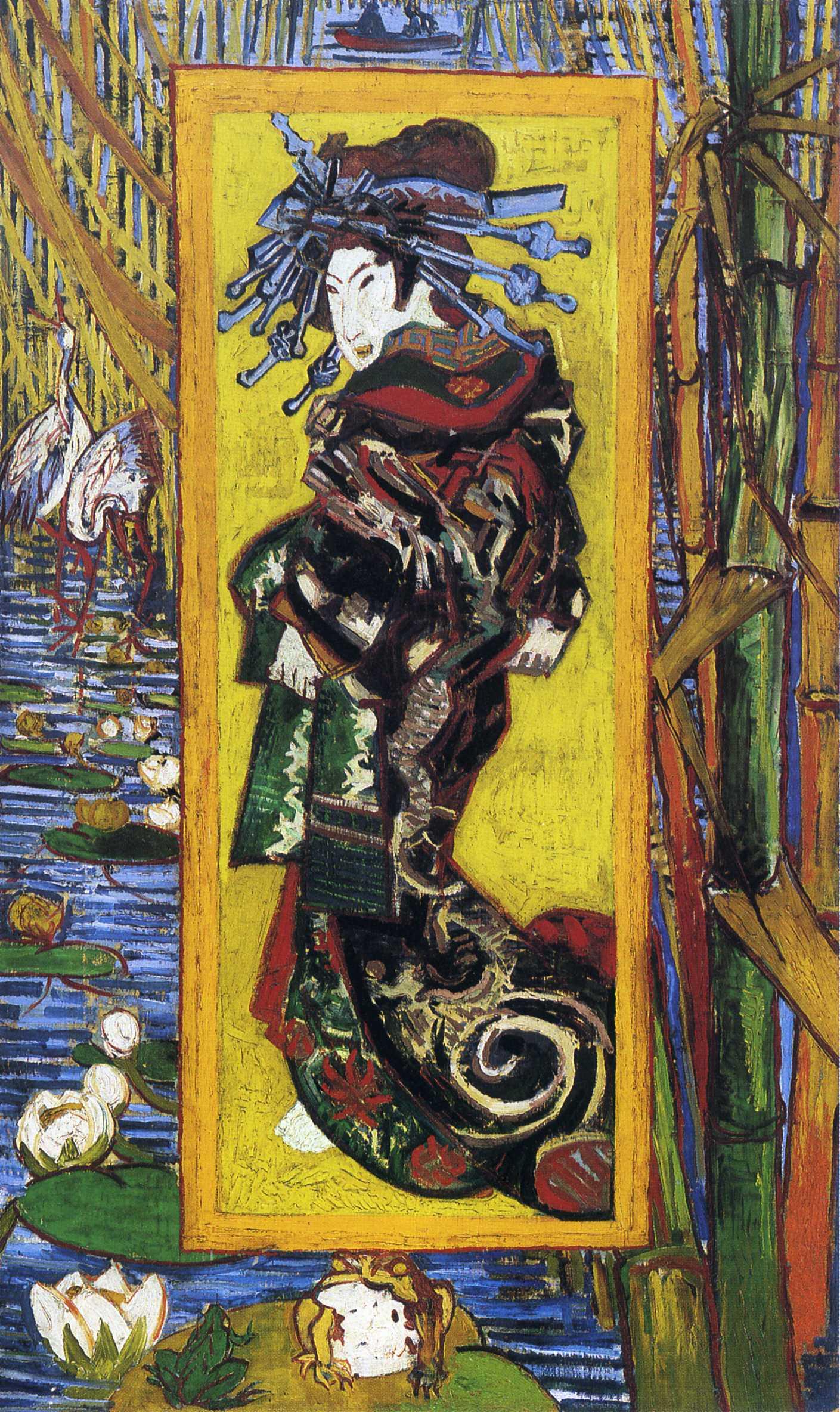 Vincent van Gogh, Japonaiserie- Oiran, après Kesaï Eisen', 1887, image via artvan-Gogh