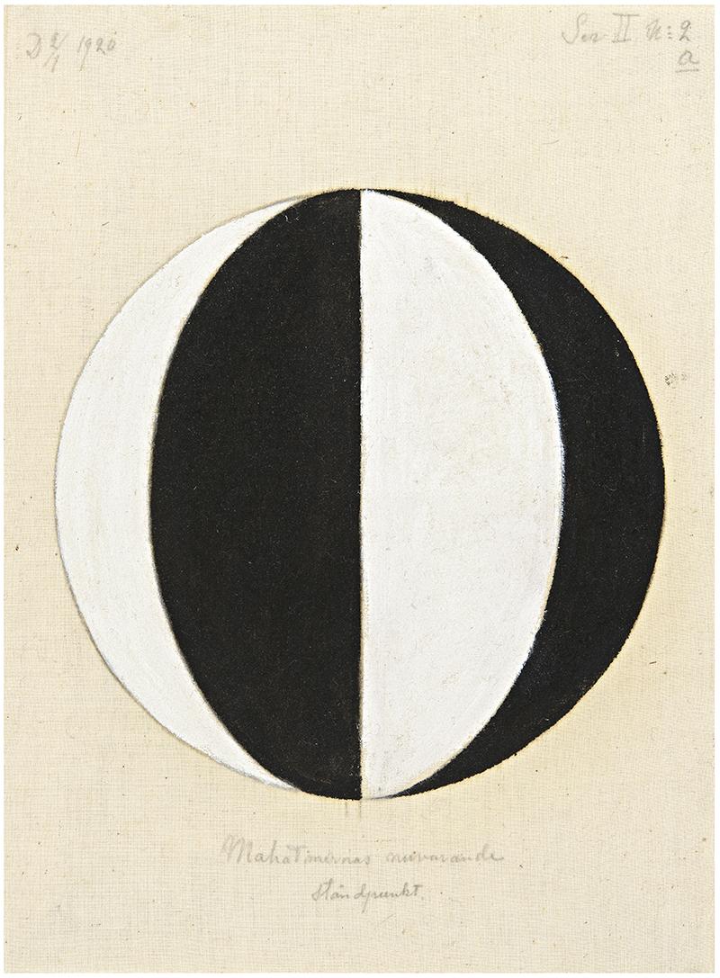 HaK469, Nr. 2a, Mahatmernas nuvarande ståndpunkt, Serie II, 1920. 36,5x27cm, olja på duk. © Stiftelsen Hilma af Klints Verk, Foto : Moderna Museet, Stockholm