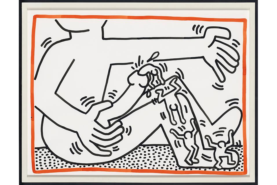 Keith Haring, Untitled (1984). Utrop: ca 915.000-1,300.000 sek. (£70,000–100,000) Foto: Christie's via AFP
