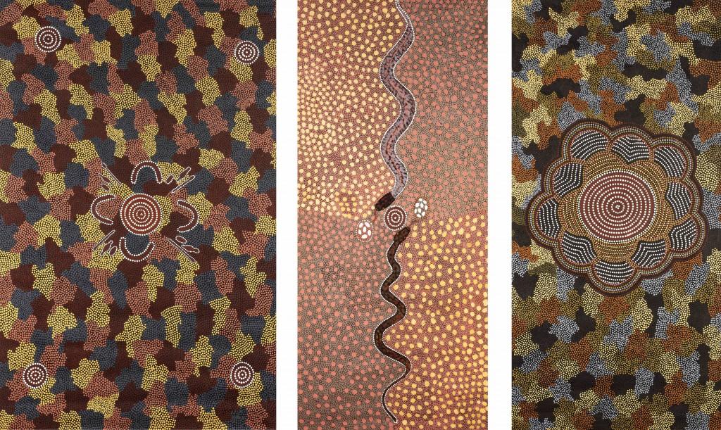 Don Tjungurrayi / Gauche : / Centre : « Snake Dreaming », 1993 / Droite : « Wati Kutjarra at Intarnkangu », 1994