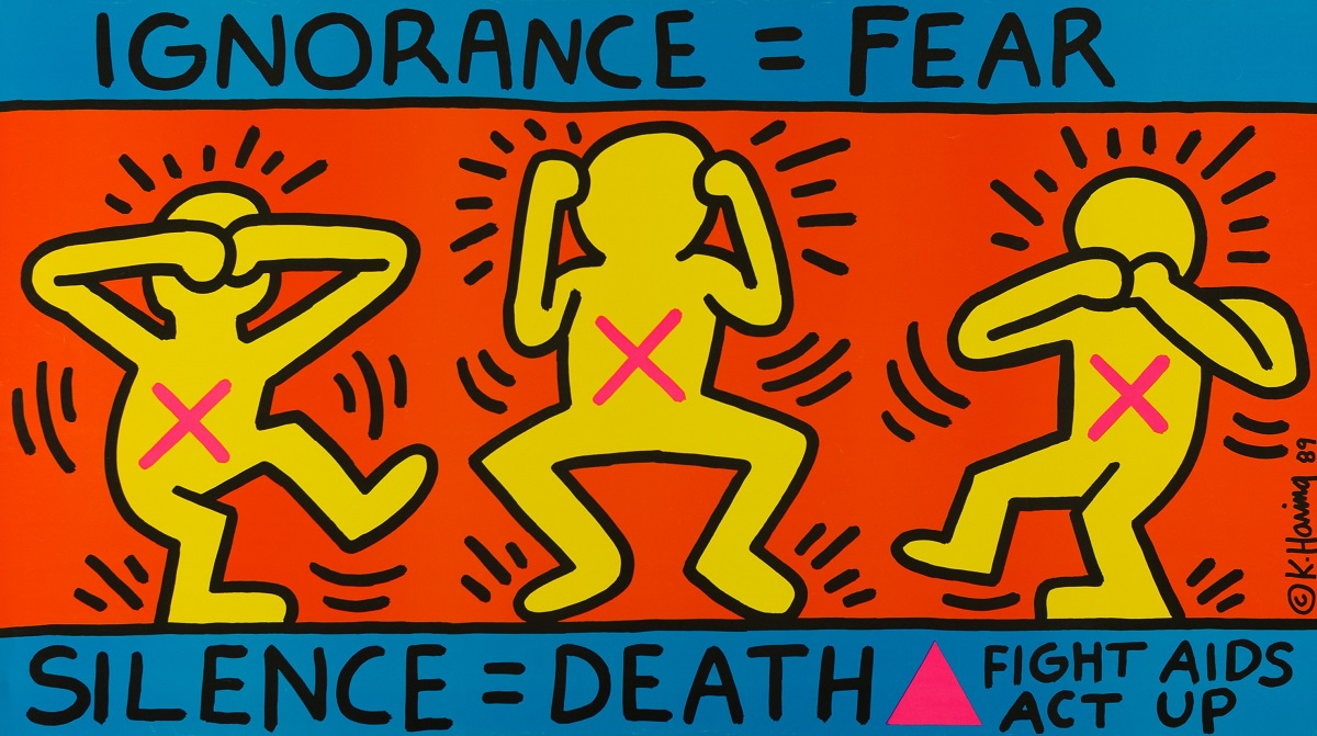 "KEITH HARING. ""Ignorance =Fear"" (1989)"