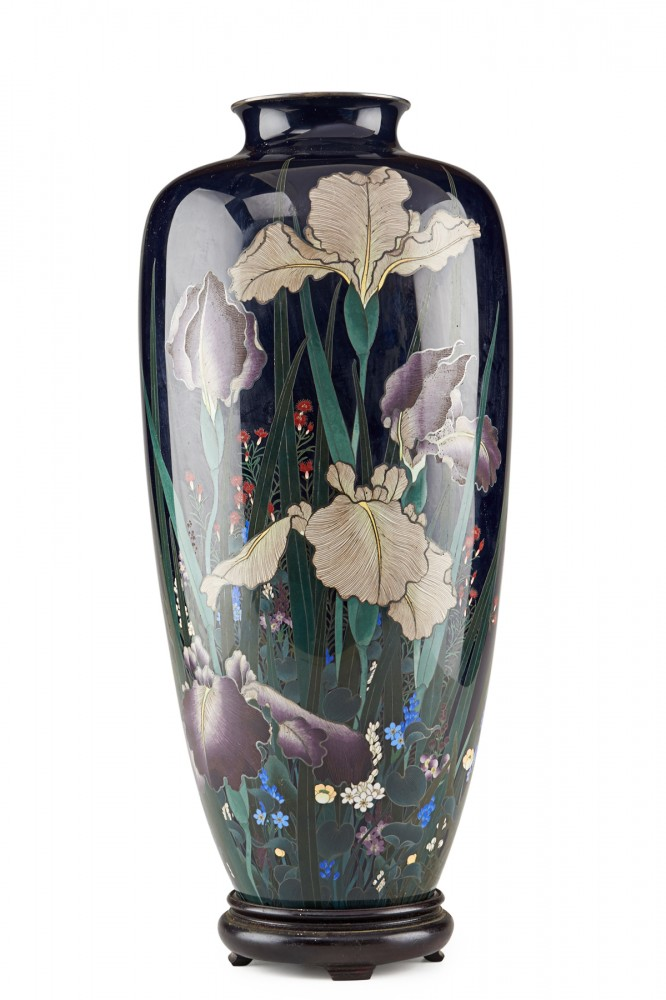 Silver and cloisonne vase