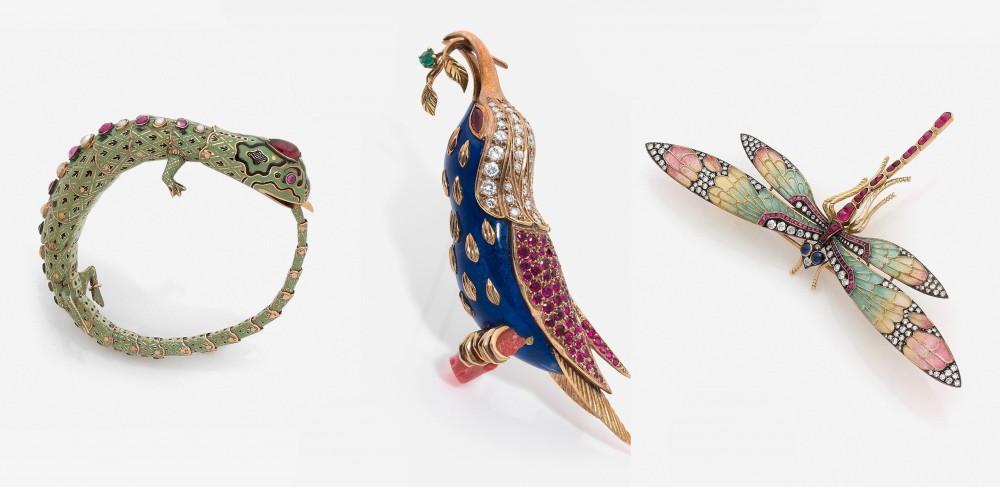 Lizard bracelet, bird brooch and dragonfly. Bild: HVMC
