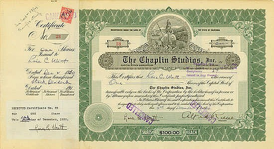 Chaplin Studios, Inc. State of California, 02.12.1930, 1 Share of US-$ 100 Schätzpreis: 1.700-3.000 EUR