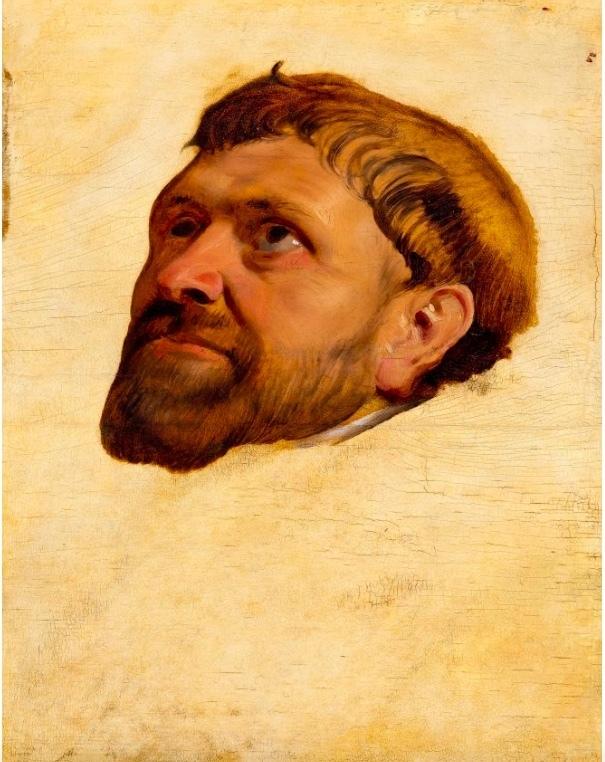 """Maestro di Antwerp, studio per il dipinto """"Testa di un monaco che guarda verso l'alto"""", pittura su tavola, 1610-15 ca."""