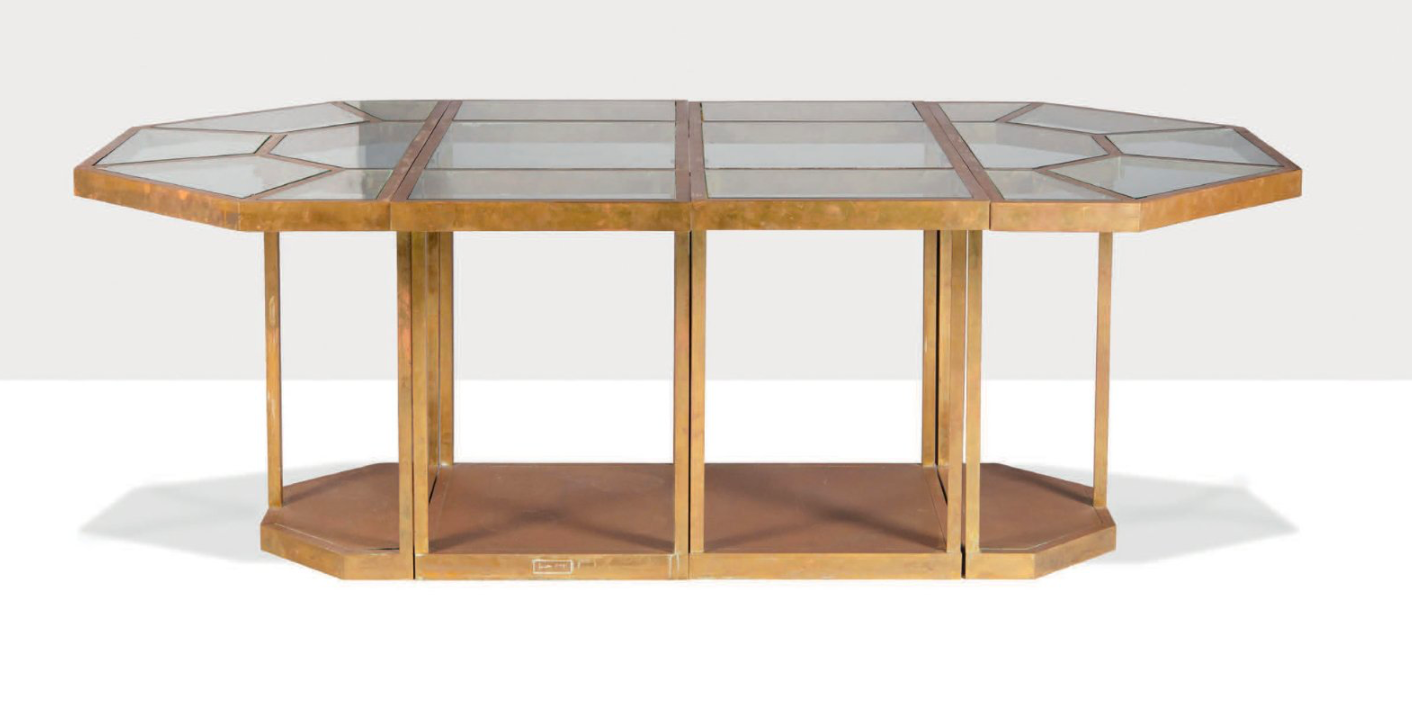 Dining table in glass and brass, 1973. Gabriella Crespi.