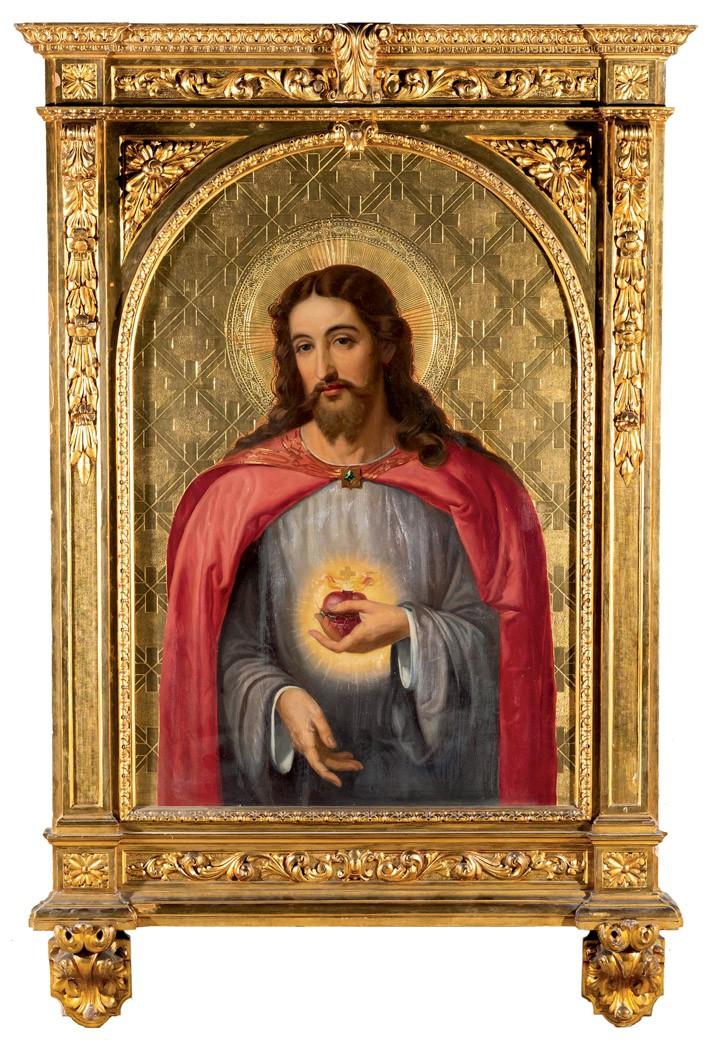 Oil painting depicting Jesus and the heart of Jesus. Photo: Duran Arté y Subastas