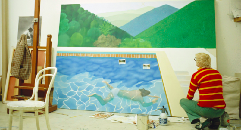 Hockney arbetade 18 timmar långa arbetsdagar under två veckors tid för att bli klar med verket. Foto: Stillbild från filmen A Bigger Splash. Foto: Jack Hazan / Buzzy Enterprises Ltd. Foto via Christie's, © David Hockney.