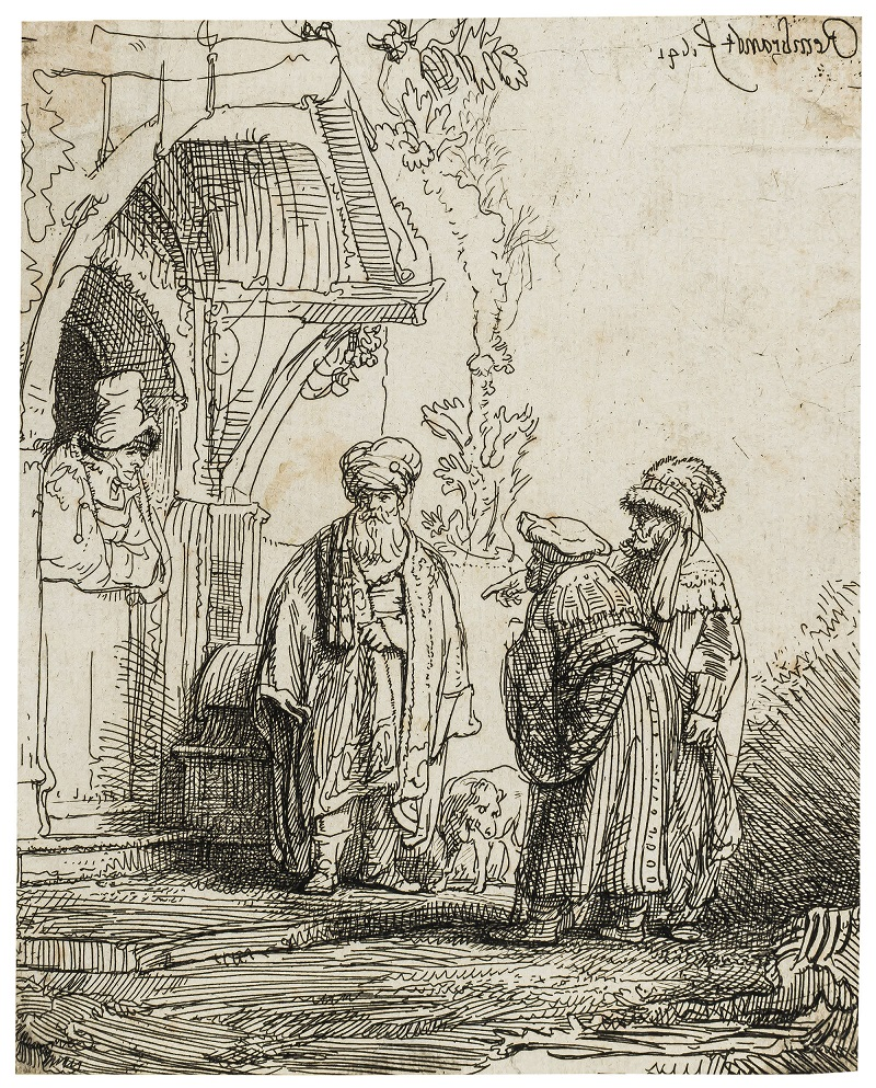 REMBRANDT VAN RIJN. Tres figuras orientales. Grabado con punta seca (1641)