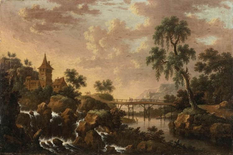 JACOB VAN DER CROOS (um 1632/37 Den Haag - zw. 1683 und 1699 wohl Amsterdam) attr. - Flusslandschaft mit Wasserfall, Brücke und Burg, Öl/Lwd./Karton, Signaturreste
