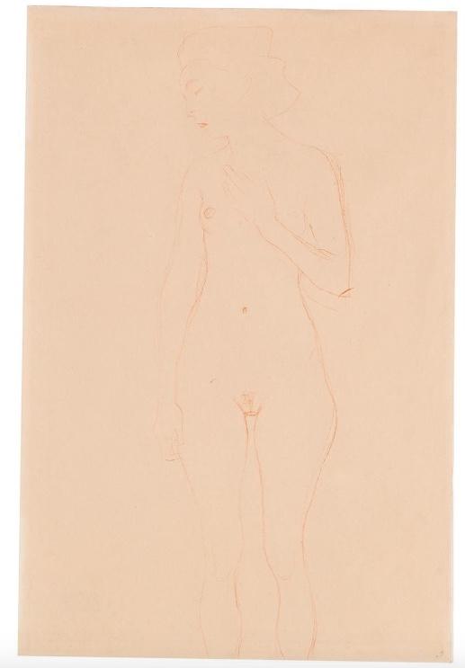 GUSTAV KLIMT (Wien 1862–1918) - Stehender Akt von vorne, den Kopf nach links gewendet, roter Farbstift/Papier, 1906/07