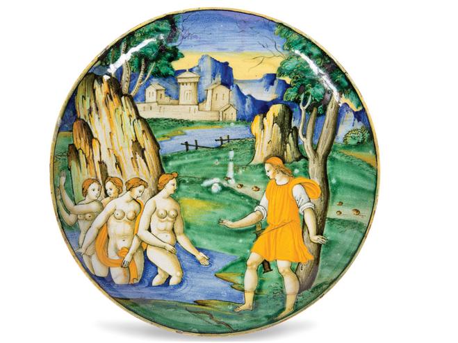 """BALDASSARRE MANARA - Schale """"Aktaion überrascht Diana im Bade"""", D: 24,8 cm, Faenza um 1535 Schätzpreis: 75.000-80.000 EUR"""