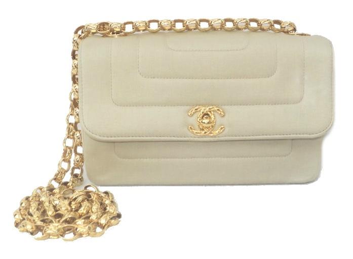 Golden sand satin single flap CC turn lock bag, early 1990s