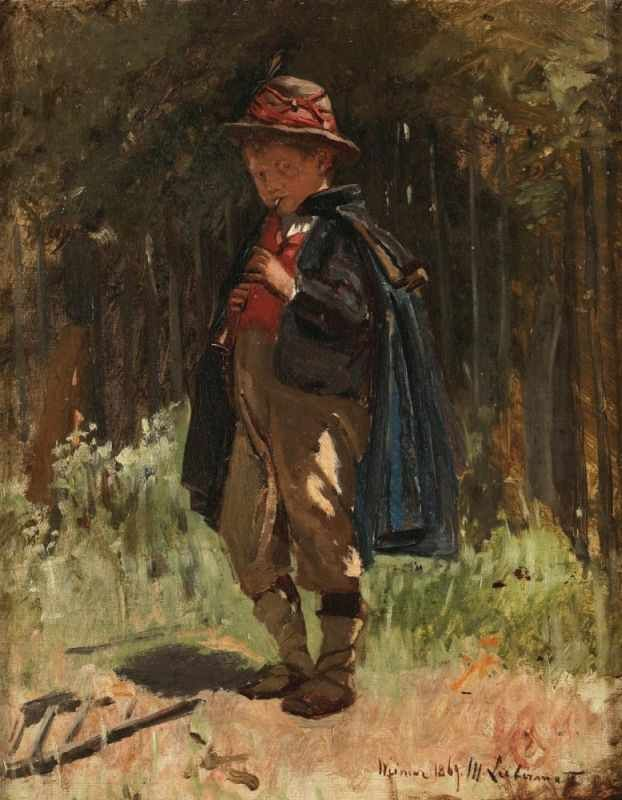 MAX LIEBERMANN (1847 Berlin - 1935 ebenda) - Pifferaro - Savojardenknabe, Öl/Lwd./Holz, 40x33 cm, signiert und datiert, Weimar 1869 Aufrufpreis: 40.000 EUR