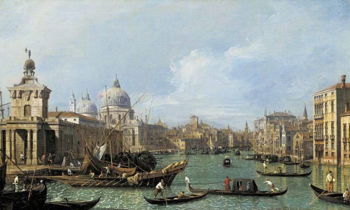 Canaletto, L'entrée du Grand Canal looking, vers l'Ouest, c. 1729–30
