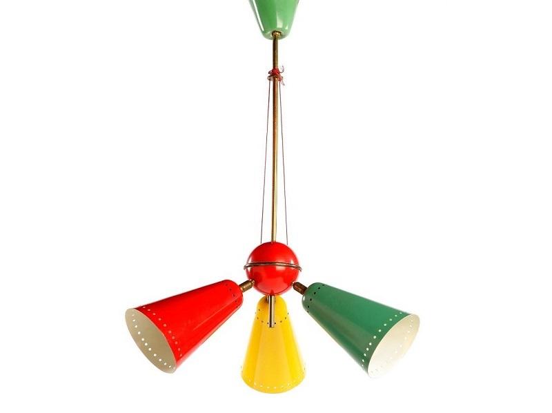 Lámpara de techo STILNOVO (años 50). Latón y metal pintado