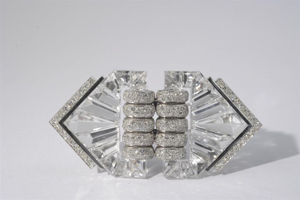"""SUZANNE BELPERRON - Art Déco-Doppel-Clip """"Éventail"""", Weißgold mit Diamanten, Paris 1935"""