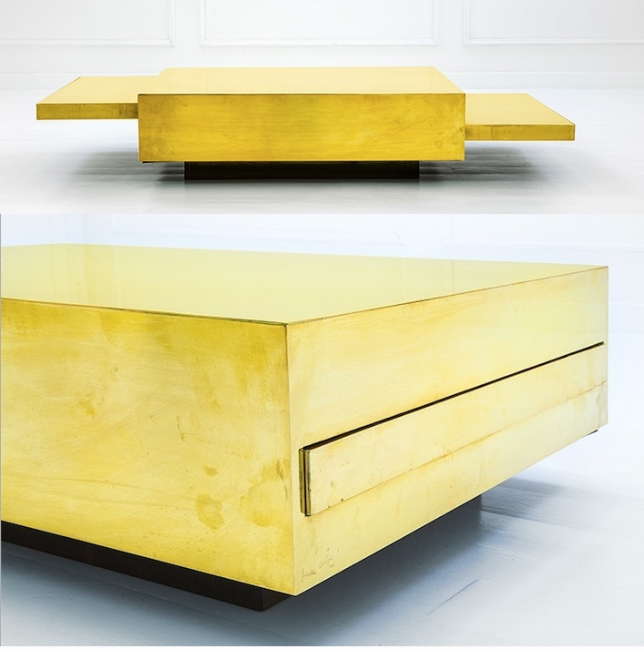 GABRIELLA CRESPI - Wooden coffee table with brass foil, ca. 1970 Result: 40 590 EUR