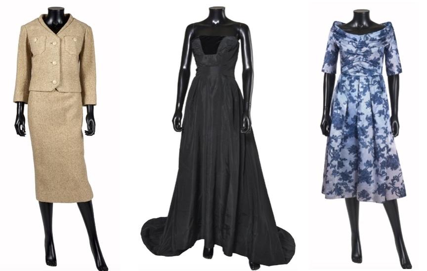 """Christian Dior Gauche: Modèle """"Sable"""", circa 1955 Centre: Modèle """"Autriche"""", Automne-hiver 1951/52 Droite: Modèle """"Louveciennes"""", Automne-hiver 1957/58 Artcurial"""